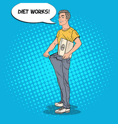 Man in oversized jeans dieting concept pop art vector