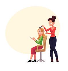 Hairdresser cutting hair making haircut for woman vector