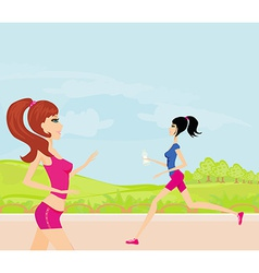 Jogging girls in the park in summer vector