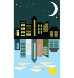 View of the city day and night in the flat style vector