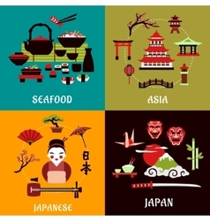Japanese culture history and cuisine designs vector