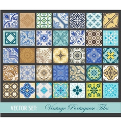 Seamless vintage tiles background collection vector