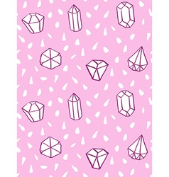 Hand drawn style seamless pattern with diamond vector