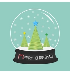 Fir tree set with star crystal ball and vector