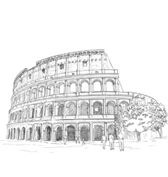 Drawing roman colosseum vector