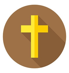The christian cross circle icon with long shadow vector