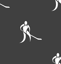 Winter sport hockey icon sign seamless pattern on vector