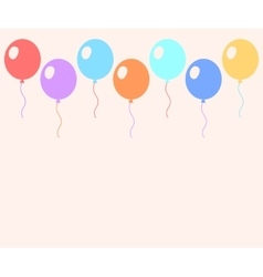 Colorful pastel balloons flat style card template vector
