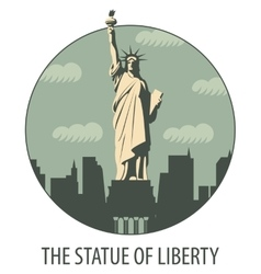 Banner with statue of liberty vector
