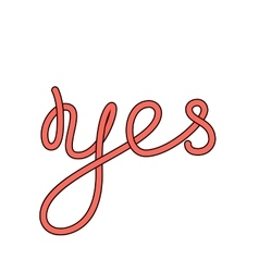 Yes word hand-lettering calligraphy vector