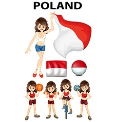 Poland flag and many sports vector image
