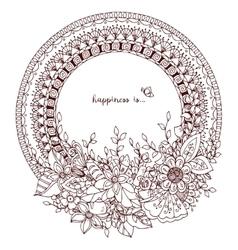 Zen tangle doodle round frame vector