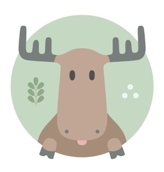 Animal set portrait in flat graphics - moose vector