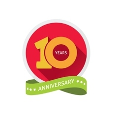 Anniversary 10th label with shadow on circle and vector