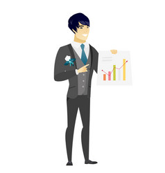 Asian groom showing financial chart vector