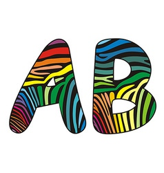 Background skin zebra shaped letter A B vector image vector image