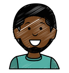 Black young man avatar character vector