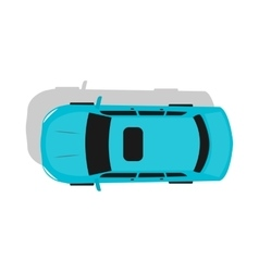 Blue car top view flat design vector