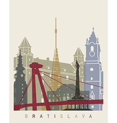 Bratislava skyline poster vector