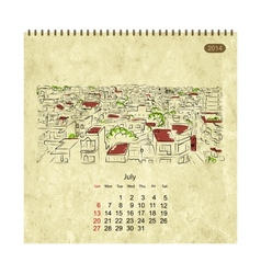 Calendar 2014 july Streets of the city sketch for vector image