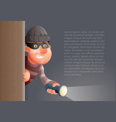 cartoon 3d criminal thief character flashlight vector image