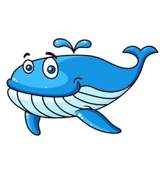 Cartoon whale with a water spout vector image
