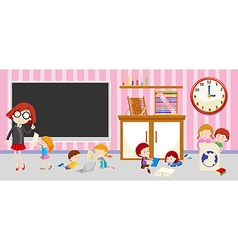 Children and teacher in classroom vector