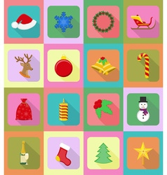 christmas and new year flat icons 20 vector image vector image