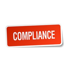 Compliance red square sticker isolated on white vector
