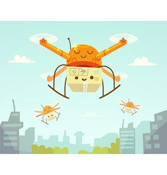 Cute drone and package vector