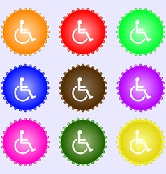 Disabled icon sign a set of nine different colored vector