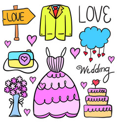 Doodle of wedding style collection stock vector