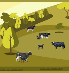 farm flat landscape with cows vector image vector image