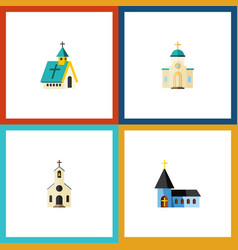 Flat icon building set of religious christian vector