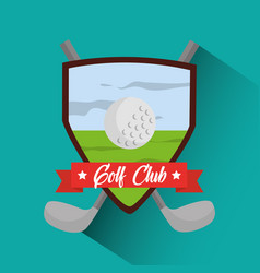 golf club banner cross clubs and ball vector image