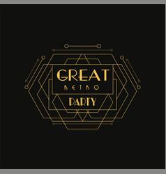great retro party logo luxury vintage geometric vector image