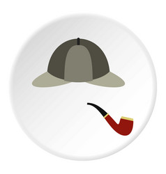 Hat and pipe icon circle vector