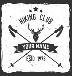 hiking club badge with trekking poles vector image vector image