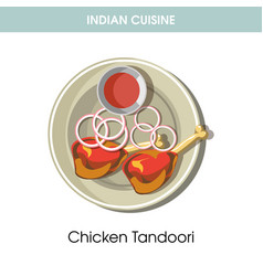 indian cuisine chicken tandoori traditional dish vector image vector image