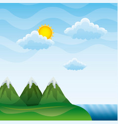 landscape mountains peak river clouds sun vector image