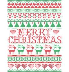 Merry christmas scandinavian nordic pattern vector