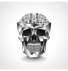 Metal skull brain from gears vector image