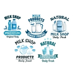 Milk and dairy products isolated icons vector