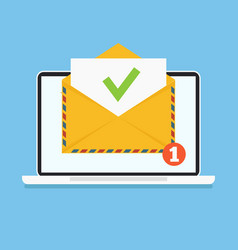 Open envelop with green tick doc email vector