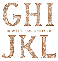 Paisley henna alphabet ghijkl vector