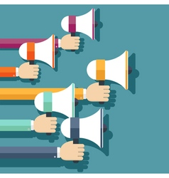 People hands holding megaphones vector image