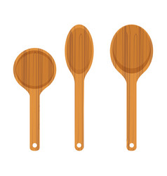set of wooden kitchen spoon icon vector image