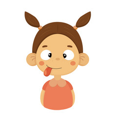 Silly and joking little girl flat cartoon portrait vector