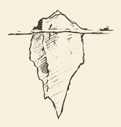 Sketch of an iceberg with icebreaker vector