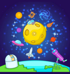 Space exploration concept cartoon style vector